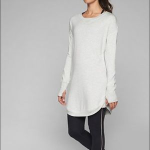 Athleta Recharge Dress Small Oatmeal Gray Heather
